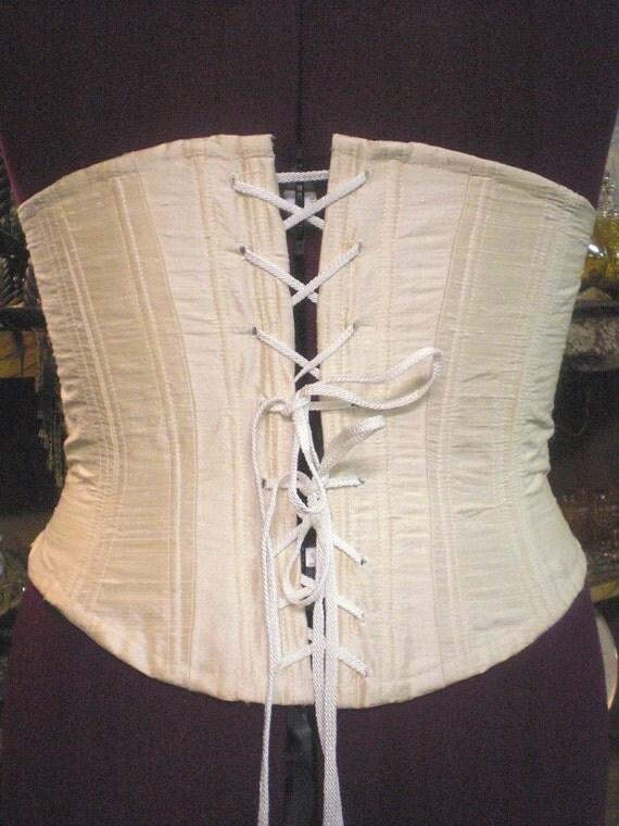 SALE  Dupioni Silk Corset - Civil War Style    Large