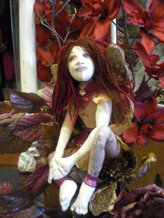 Rosie the Butterfly Faerie  Cloth Doll