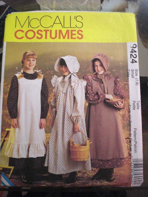 Prairie Dress And Bonnet Pattern McCalls Child 1012