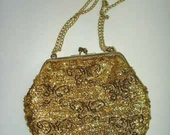 Vintage Hong Kong Beaded Gold Lame Purse Pocketbook
