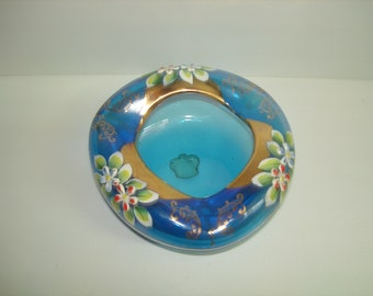 Italy Blue Blown Glass Ashtray Enamel Flowers Gold Trim