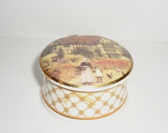 Falcon China Staffordshire Tiny Trinket or Pill Box Village Scene