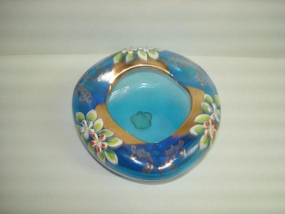 Italy Blue Blown Glass Ashtray Enamel Flowers Gold Trim