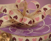 3 Yard Cut  Sweetheart Candies Grosgrain Ribbon 3/8  Inch .....  Cream, Pink and Chocolate