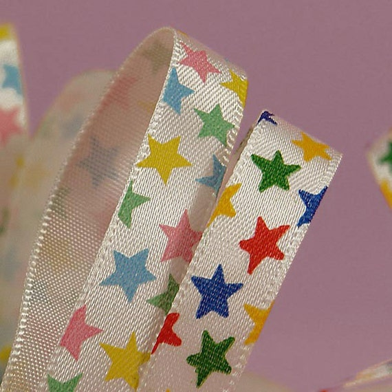 Stars on Satin Ribbon .... 3/8 Inch Choose from TWO Colors ....  3 YARD Cut