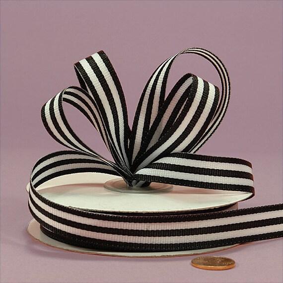 2 Yd. Cut ..... Striped Grosgrain Ribbon  5/8 Inch ..... Black and White Stripes