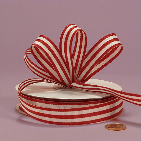 2 Yd. Cut ..... Striped Grosgrain Ribbon  5/8 Inch ..... Red and White Stripes