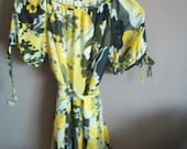Vintage Yellow Black White Floral Chiffon Tunic Belted Blouse Top S/M