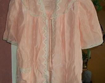 SALE Adorable 40s Peach and Cream Antique Vintage Silk Satin Lace Bed Jacket/Blouse S