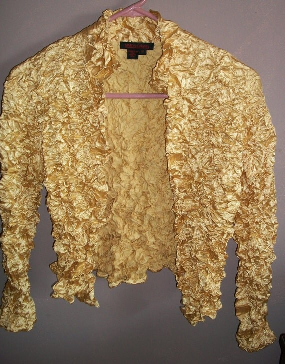 Vintage 90s Simon Chang Blouse Jacket Gold Crinkled - 10