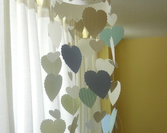 Hearts mobile Girls mobile for nursery with blue hearts
