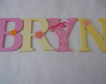 Wooden  letters for nursery spelling out your child's name  letters alphabet initials monogram