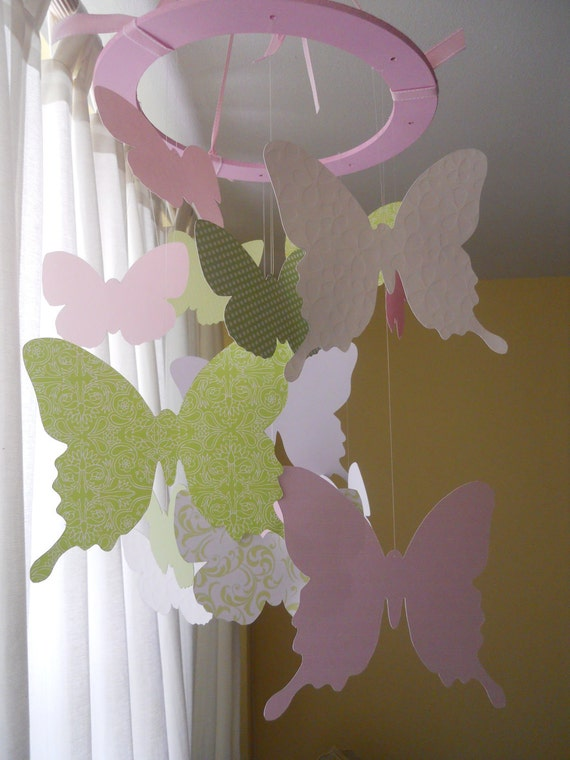 Custom order a Whirl of whimsical  paper butterflies  mobile nursery decor childrens room