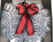 Black-n-White stripe with Burgundy Maroon ribbon - Mesh Wreath