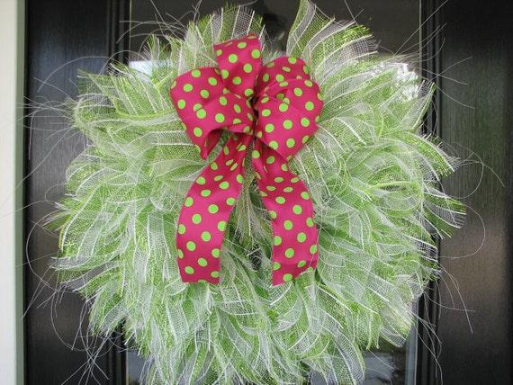 Apple Green Stripe with Pink Polka Dot ribbon - Mesh Wreath