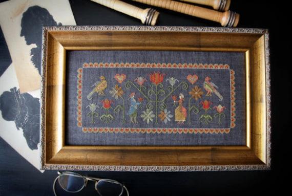 Colonial Garden + OPTIONAL Silk Threads : Plum Street Samplers Paulette Stewart counted cross stitch patterns hand embroidery