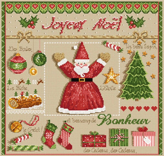 50% OFF French cross stitch patterns : Joyeux Noel buttons Merry Christmas Madame La Fee counted hand embroidery
