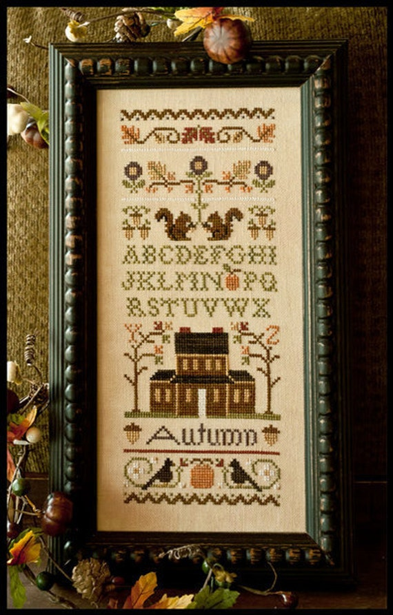 counted cross stitch pattern & charm : Autumn Band Sampler Little House Needleworks Thanksgiving autumn embroidery