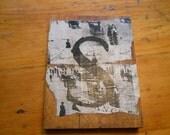 on treasury list Antique barnwood sign 'S '