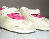 Fits 12 Inch Sasha Baby....Cream German Button Strap Doll Shoes.....Item No. 251CR