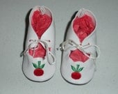 Fits 9 Inch Patsyette Effanbee Doll..White Cherry Doll Shoes..Item No. 6-8