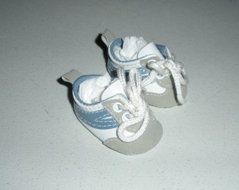 Fits 12 Inch Sasha Baby.....Blue/White Sneakers- Doll Shoes....Item No.  3752BL