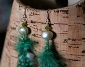 Lime Fresh Water Pearl & Feather Earring