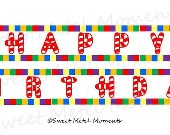 Candyland Birthday - Printable Happy Birthday Banner [Instant Download]
