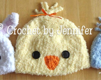 Crochet Pattern for Pipsqueaks Bunny and Chick Hats - 5 sizes, baby to adult - Welcome to sell finished items