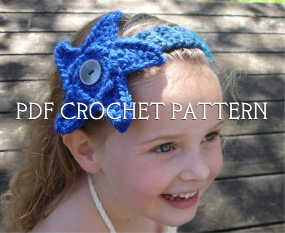 Crochet Pattern for Mermaid Headband - Starfish or Anemone Flower - Any Size - Welcome to sell finished items