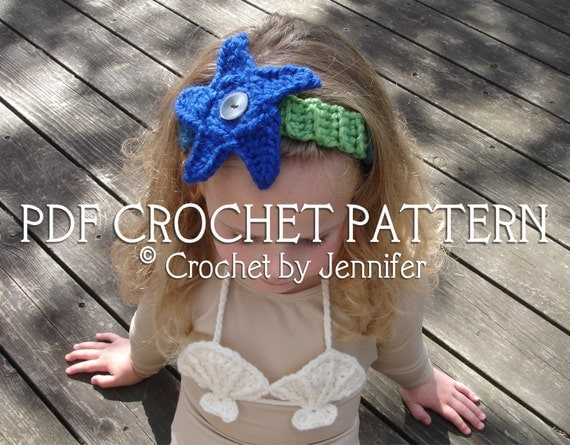Set of 2 Mermaid Accessory Crochet Patterns - Starfish Headband and Shell Bikini Top - Welcome to sell finished items