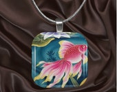 Glass Tile Pendant Necklace with your choice of chain style-Don't Be So Koi (AsianFloral6.7)