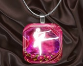 Ballerina Glass Tile Pendant with your choice of chain included(Fairy7.1)