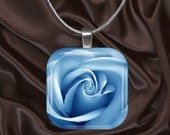 Soft Blue Rose Glass Tile Pendant with chain(blue3.2)