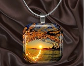 Wave Light of Day Glass tile Pendant with chain(light5.3)