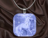 Unicorn Glass Tile Pendant with chain(CusFF18.2)