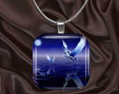 Mother and Baby Pegasus/Unicorn Glass Tile Pendant with chain(CusFF21.1)