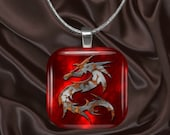 Silver Dragon on Red Glass Tile Pendant with chain(CuFF26.6)