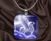 Pegasus Horse Glass Tile Pendant with chain(CuFF25.6)
