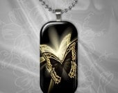 Elegant Black and Gold Butterfly Glass tile Pendant with chain(CuBuR2.5)