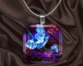 Fantasy Floral glass Tile pendant with chain(CuFl6.7)