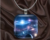 Space Glass Tile Pendant with chain(CuFF11.4)