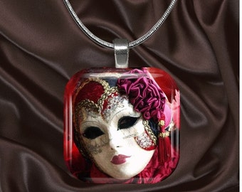 Pink and White Venetian Mask Glass Tile Pendant with your choice of chain included(mask5.5)