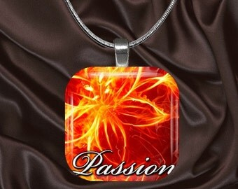 Passion Glass Tile Pendant with your choice of chain included