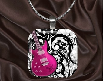 Pink Guitar Glass Tile Pendant with your choice of chain included