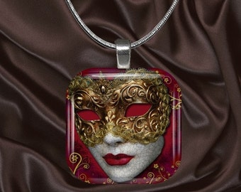 Venetian Mask Glass Tile Pendant with your choice of chain included(mask7.3)