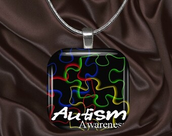 Autism Awareness Glass Tile Pendant with your choice of chain included(Autism Aware3.1)