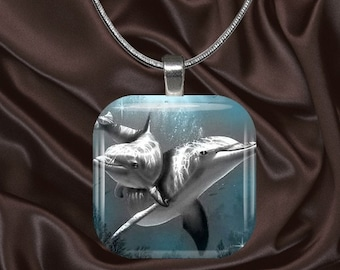 Dolphin Pair glass Tile Pendant with your choice of chain included(Dolphin3.2)
