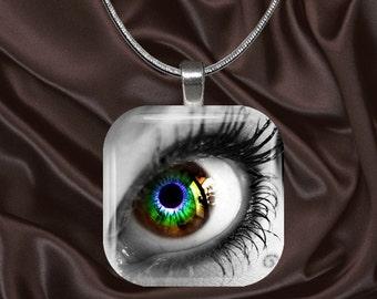 Rainbow Eye Glass Tile Pendant with your choice of chain included(Rainbow3.1)