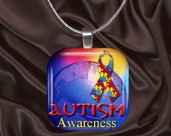 Autism Awareness Glass Tile Pendant with your choice of chain included(Autism Aware1.4)